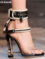 CH KWOK Female Wedding Shoe Gemstone Jeweled Gladiator Sandals PVC Jelly High Heels Woman Padlock Ankle