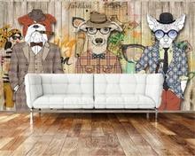 beibehang 3D Wallpaper Retro nostalgic abstract animal Dog Animal Wood grain photo wallpaper Art Painting for walls 3d