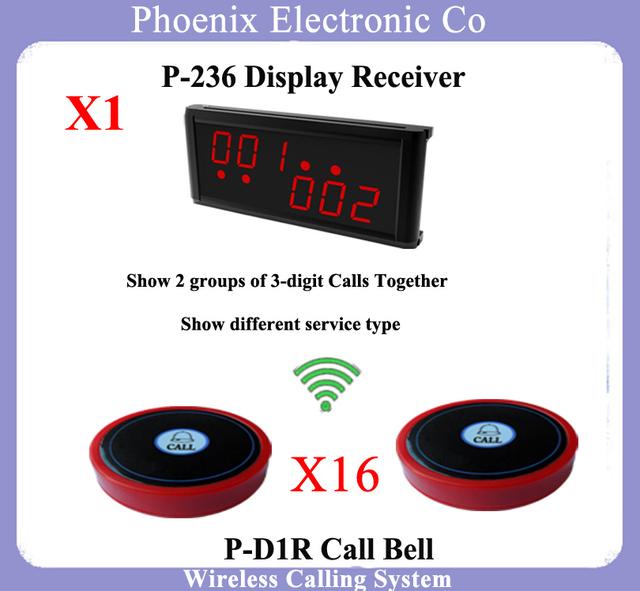 Wireless Sistema de Llamada Del Camarero Sistema de Llamada de Enfermería Sistema de Colas Incluyendo P-236 1 unids Receptor de la Exhibición y 16 campanas de Mesa