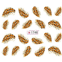 Hot Sale New Arrival Colorful Beautiful Leopard Water Transfer Stickers Nail Art Tips Feather Decals Drop Shipping NA-0035-1746