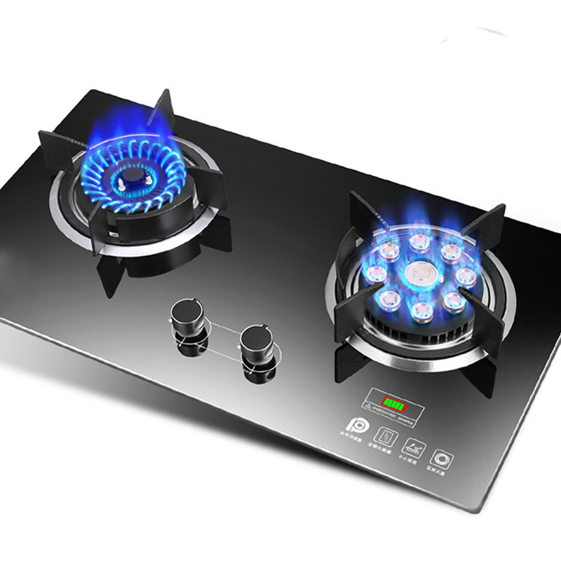 Home Gas Stove Embedded Double Dual cooker Natural Gas Liquid Gas Desktop Furnace Commercial 2 Pot