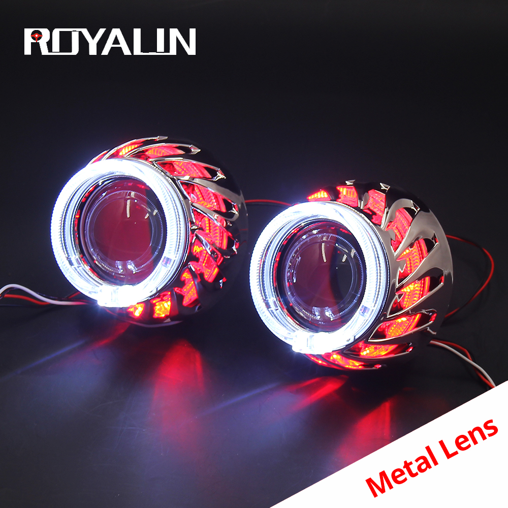 ROYALIN LED DRL Double Angel Eyes Halo Rings Turbine Mini Projector Lens Bi Xenon H1 Headlight Shrouds White H4 H7 Auto Lamp DIY