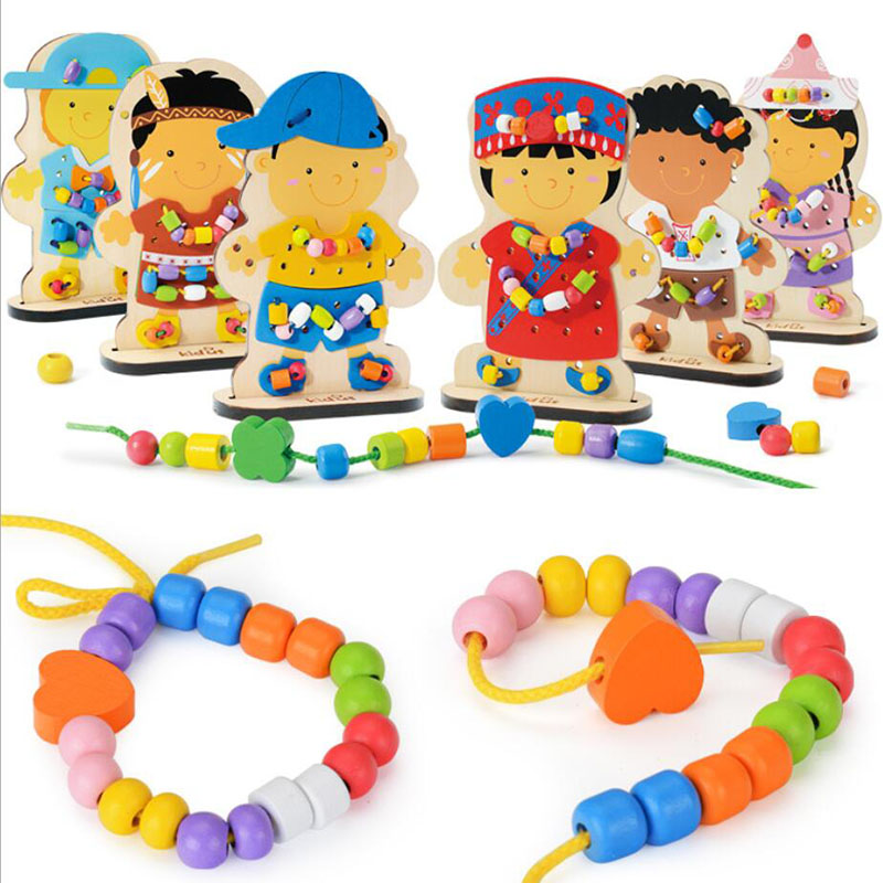 Montessori Wooden Learning Education Beaded Dolls Pearl Children's Educational Toys Kids Gifts