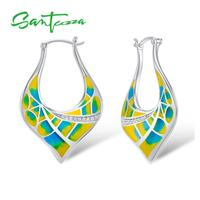 Colorful Transparency Enamel Earrings White Cubic Zirconia CZ HANDMADE