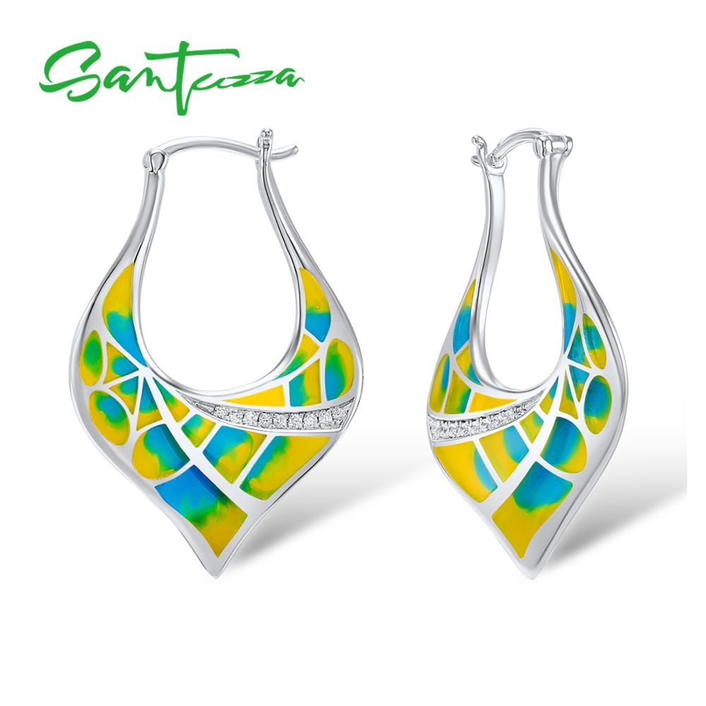SANTUZZA Earrings for Women Colorful Enamel Women Earrings White Cubic Zirconia CZ Stone Earrings Party Fashion Jewelry HANDMADE colorful cubic zirconia hoop earring fashion jewelry for women multi color stone aaa cz circle hoop earrings for party jewelry