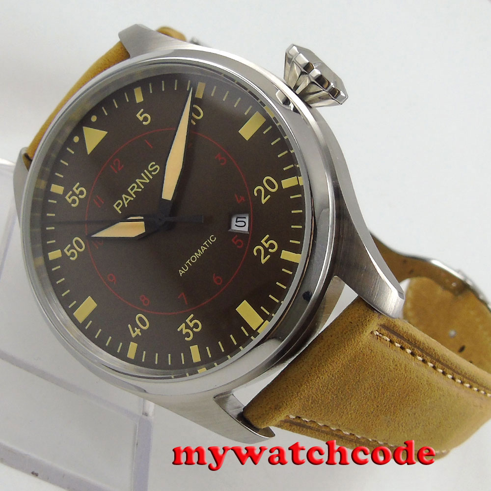47mm parnis coffee dial date window miyota 8215 automatic steel mens watch P785 luxurious 47mm parnis coffee dial date seagull automatic movement mens watch page 6