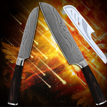 Kitchenware 5 inch 7 inch santoku kitchen knives stainless steel Damascus pattern high toughness cooking tools pakka wood handle