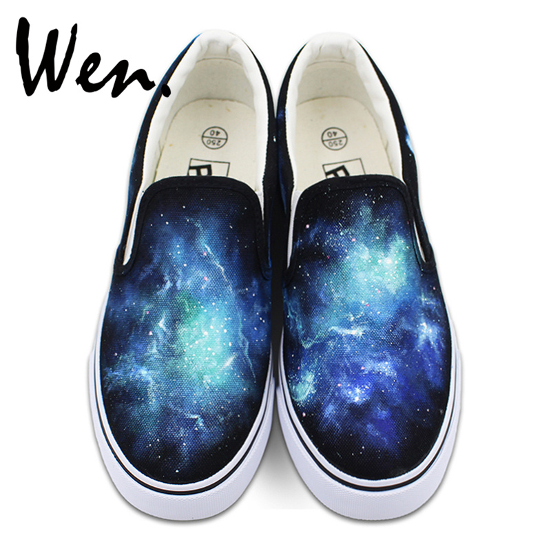Wen Original Blue Galaxy Nebular Space Design Custom Hand Painted Shoes Slip On Black Canvas Sneakers for Man Woman wen design custom blue hand painted shoes scott pilgrim high top woman man s canvas sneakers for birthday gifts