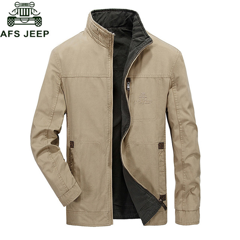 AFS JEEP Spring Autumn Mens Bomber Jackets Cotton Military Double wear Windbreaker Jacket Coat Plus Size 4XL Chaquetas hombre-in Jackets from Men's Clothing    1