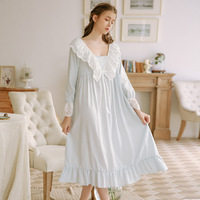 Princess 100% Cotton Sexy Sleepwear Woman Court Lace Sexy Long sleeved Womens Lingerie Nightgown Lovely Night Gown Nightwear