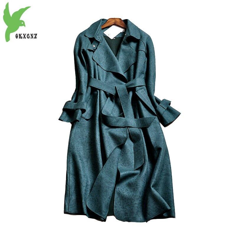 New Autumn Winter Women Suede Coat Europe Fashion Long Windbreaker Plus Size Solid Color Boutique Casual Tops Jacket OKXGNZ A761