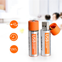 2PCS SORBO 1.5V 1200mAh USB Rechargeable 1 Hour Quick Charging AA Li-po NiMH Battery for RC Toys Car Helicopter Airplane Drone