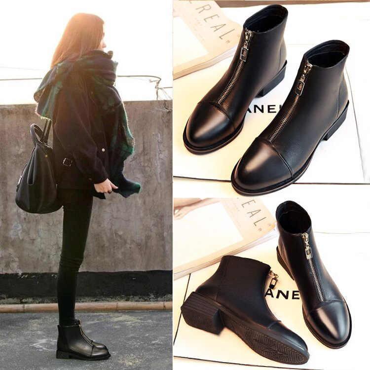 Ботильоны для женщин на осень-зиму черный искусственная кожа на среднем каблуке Ботинки martin пикантные на молнии английский стиль Дамская обувь botas mujer