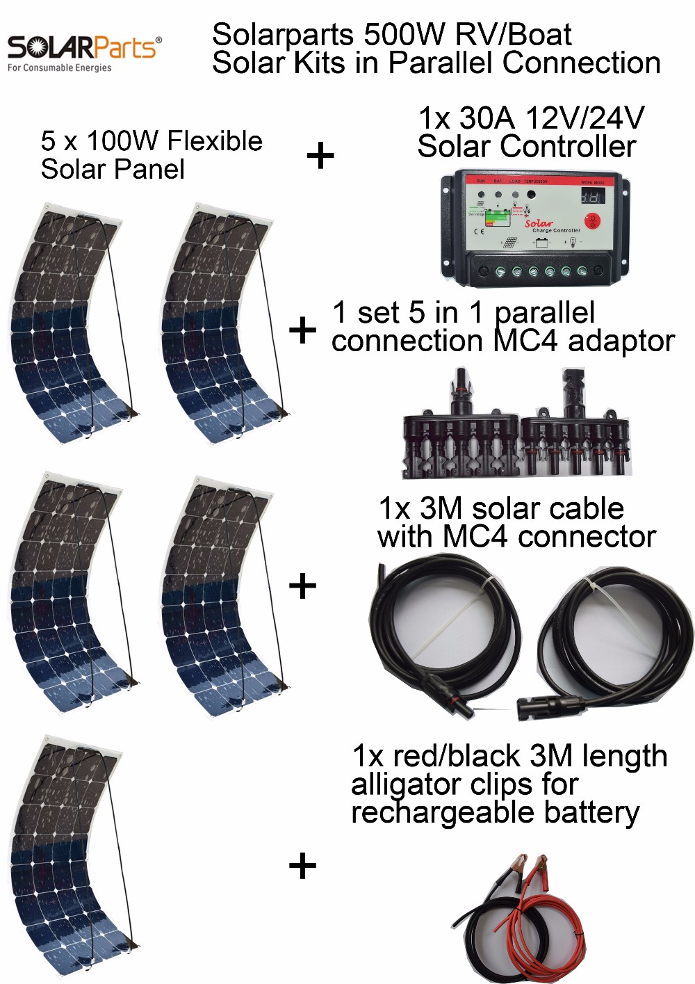 Solarparts Standard Kits 500W DIY RV/Boat Kits Solar System 100W flexible solar panel+controller+cable outdoor light led module. solarparts 100w diy rv marine kits solar system1x100w flexible solar panel 12v 1 x10a 12v 24v solar controller set cables cheap