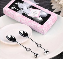 100pcs=50 set Love Heart Spoons Coffee Spoon Wedding Favor Guest Gift 2 in 1 box,DHL Free Shipping