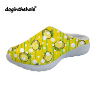 doginthehole Summer Beach Shoes for Women Sport Sandals Lemon Pattern Womens Clogs Sea Shoes Comfortable Outdoor Sneakers Female