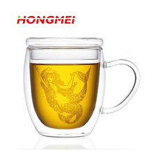 Creative Double Wall Heat-resistant glass Coffee Cup + Lid Set mug Tumbler tea beer mugs and cups with handgrip