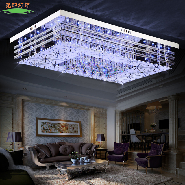 ceiling lights for living room india black and white tile floor led light crystal lamp bedroom lighting fixtures modern minimalist rectangle 8568
