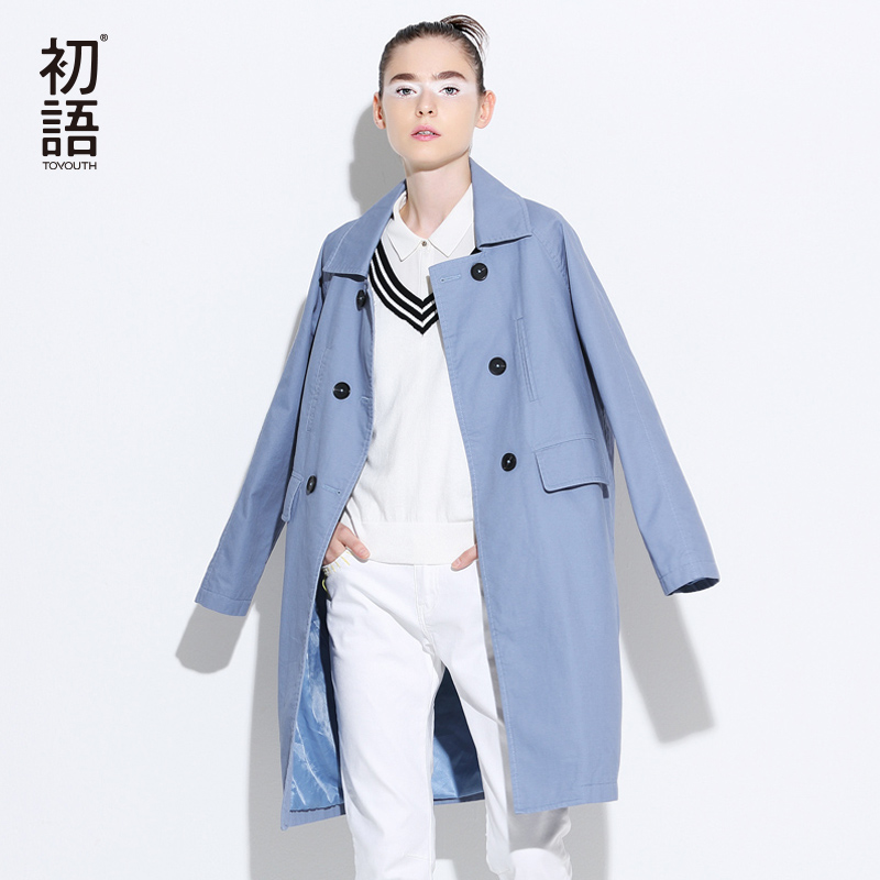 Toyouth Brand Double Breasted Solid Trench Coat For Women Winter Autumn Outwear Long Trench Coats British