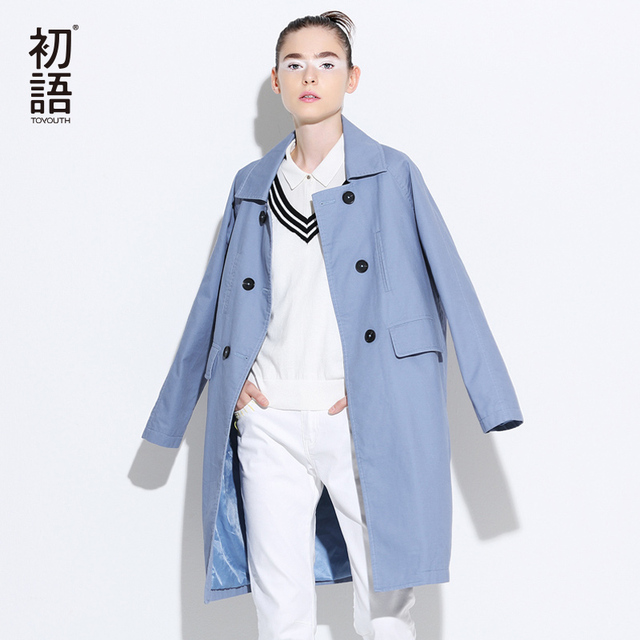 Toyouth Brand Double-Breasted Solid Trench Coat For Women Winter Autumn Outwear Long Trench Coats British Style Casaco Feminino