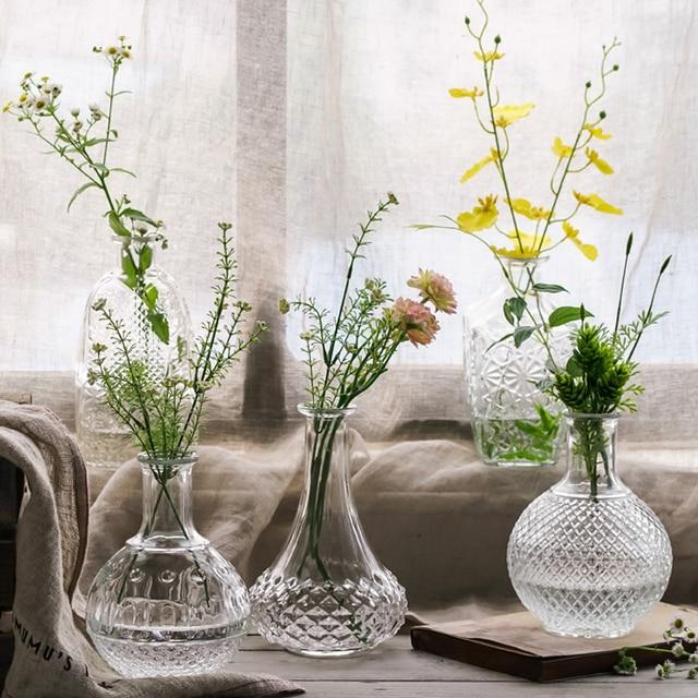 Retrotransparent Glass Flower Vase Small Mouth Vase Terrarium Plants