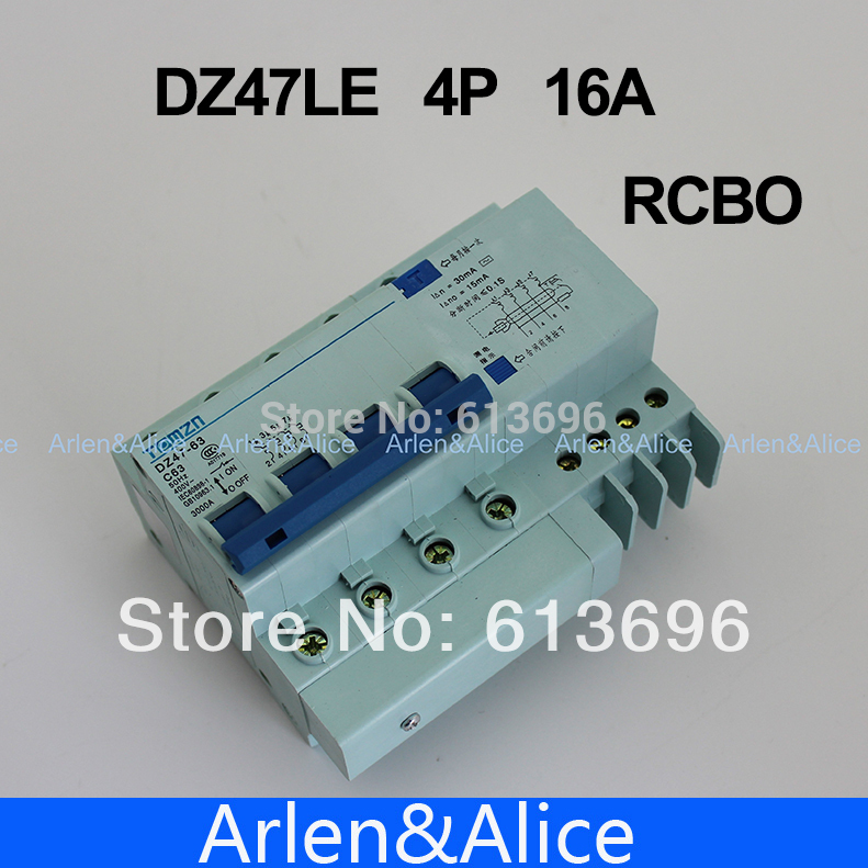 DZ47LE 4P 16A 400V~ 50HZ/60HZ Residual current Circuit breaker with over current and Leakage protection RCBODZ47LE 4P 16A 400V~ 50HZ/60HZ Residual current Circuit breaker with over current and Leakage protection RCBO