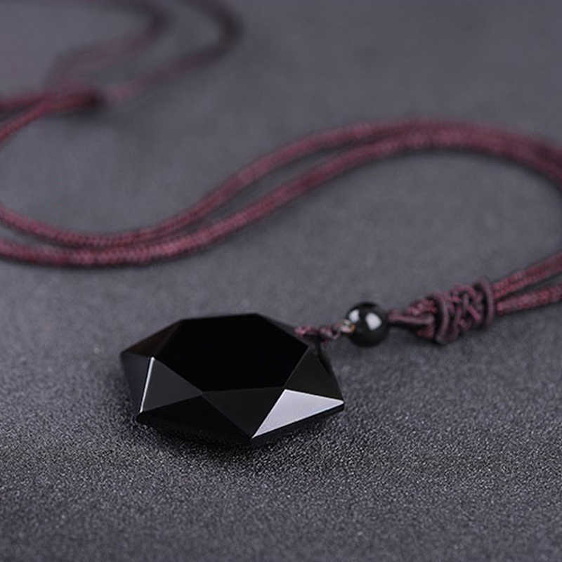 46b6d64276583 Dropshipping Black Obsidian Hexagram Necklace Obsidian Star of RongDe  Pendant Lucky Love Natural Stone Women Men Couple Necklace