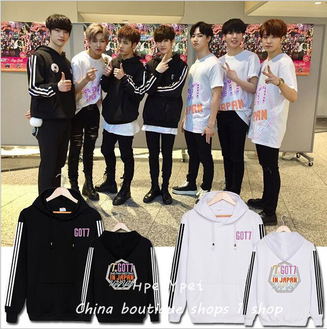 GOT7 around Japan concert Wang Jiaer same hooded fleece han edition men and women who relaxed autumn outfit coat