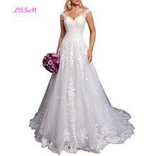 A-Line Lace Wedding Dresses for Bride Sweetheart Straps Princess Bridal Dress Vestidos de novia 2019 Court Train Wedding Gowns цена и фото