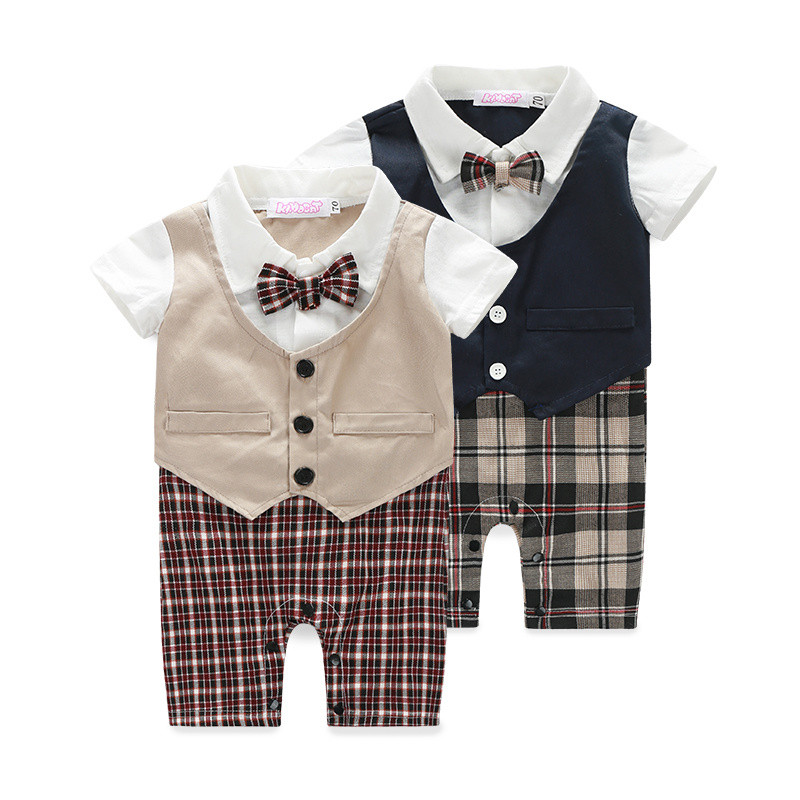 Infant wedding suit baby boy toddler 2 colors khaki and for Baby shirt and bow tie