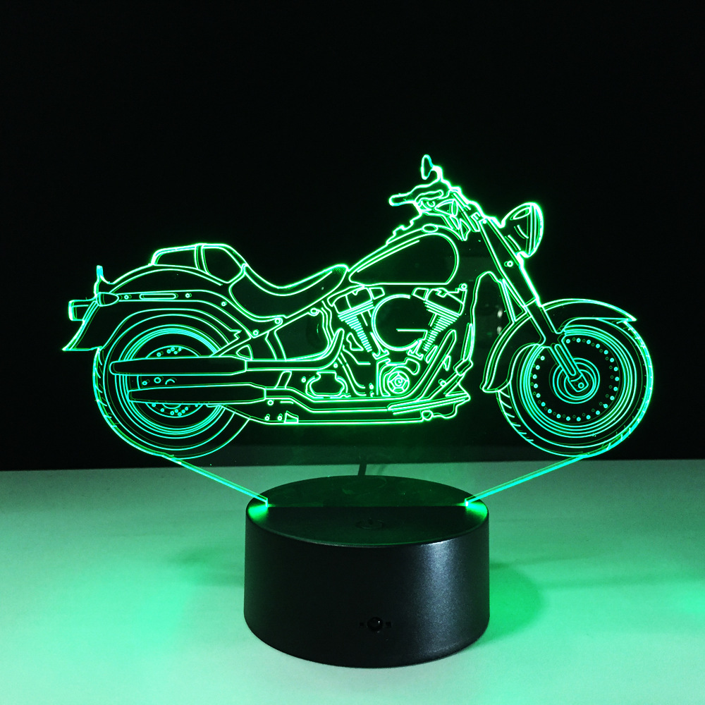 3d Motorcycle Art Led Night Lights Crystal Lamps For Kids Bedroom Sleep Light Table Lamp NightLight Touch Switch Rooms Decor
