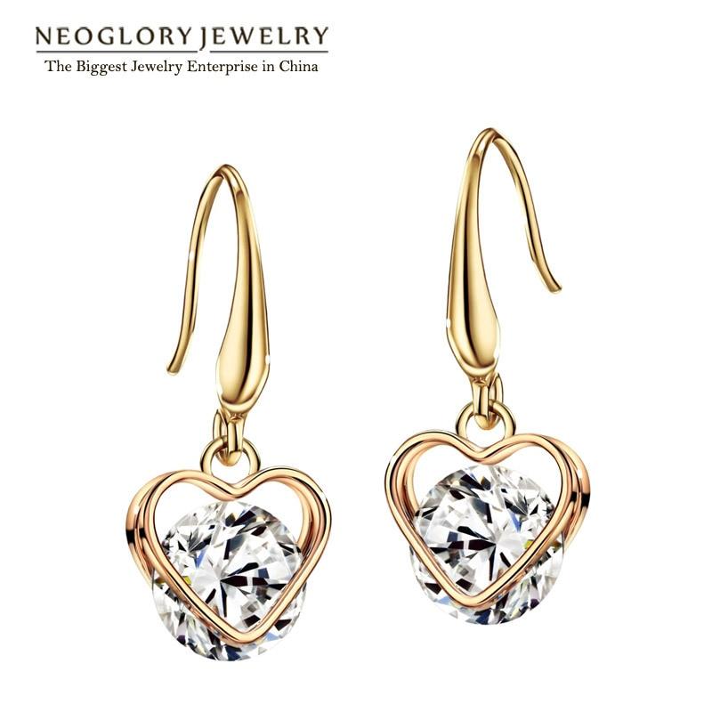 Neoglory Cubic Zirconia Rose Gold Color Charm Heart Love Dangle Earrings for Women Fashion Jewelry 2018 He1 He-y EA1 JS9 Love