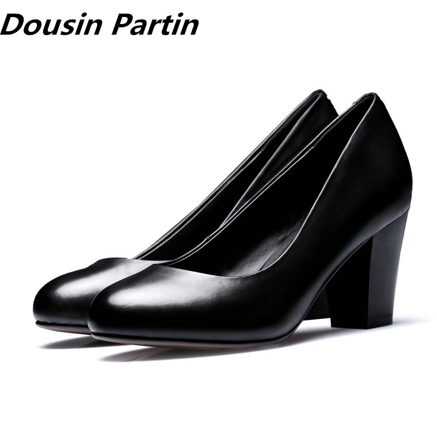 Dousin Partin Office Lady Pumps Square Heel 3 3CM 5CM 7CM Women Black Work Pumps Fashion