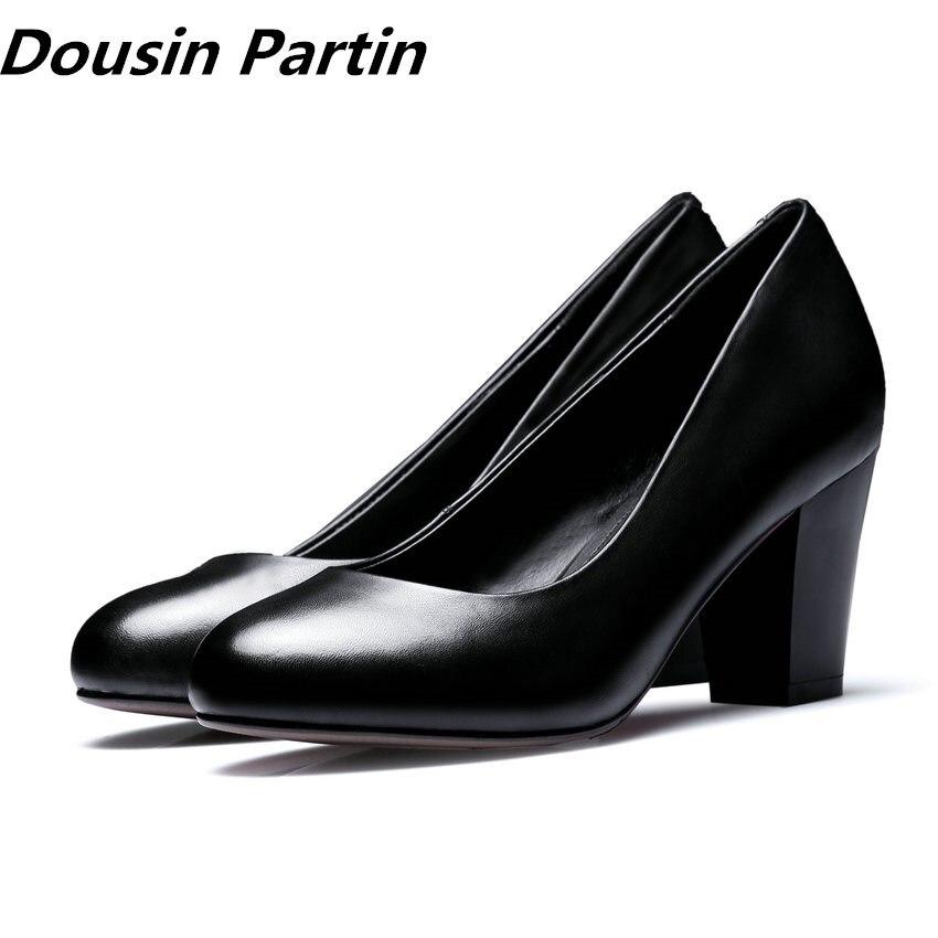 Ayakk.'ten Kadın Pompaları'de Dousin Partin Ofis Bayan Pompaları Kare Topuk 3.3 CM/5 CM/7 CM Kadın Siyah Iş Pompaları Moda yuvarlak Ayak Sığ Bayanlar 35 39'da  Grup 1