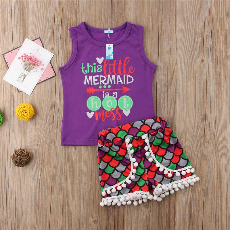 2018 Yeni Yaz Püsküller Çocuklar Bebek Kız Kolsuz Mermaid Yelek üst t-shirt Şort Pantolon 2 adet Çocuk çocuk kıyafetleri Giyim