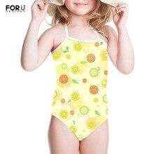FORUDESIGNS Little Girls Cartoon Bikini Animal Prints Conjoined Pants Summer Beach Fruits 3D Kids Outdoor Swimming Wear