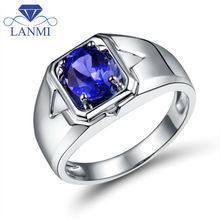 Luxury 18Kt White Gold Oval 6x8mm Natural Tanzanite Wedding Men's Rings WU0312E
