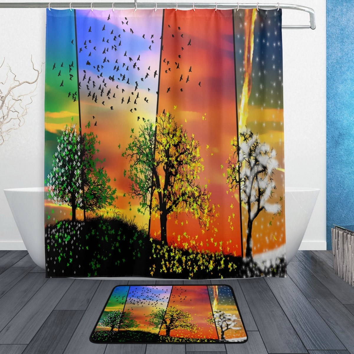 Colorful Season Tree Waterproof Polyester Fabric Shower Curtain with Hooks Doormat Bath Floor Mat Bathroom Home Decor