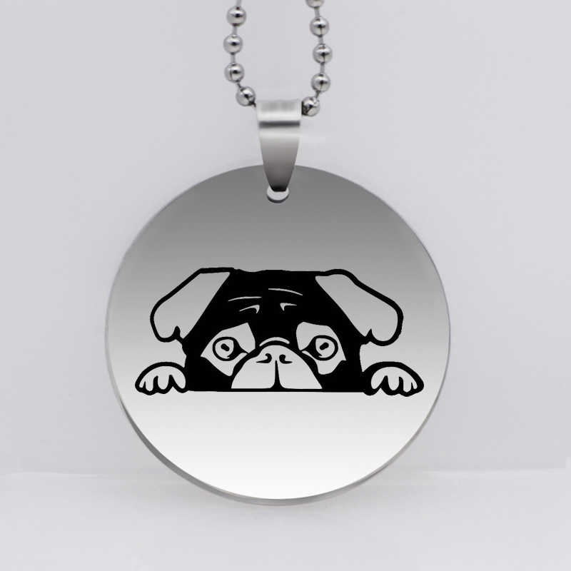 Stainless Steel Dog Pendant Necklace Personality Peeking Pug Puppy Jewelry Gift for Women Drop Shipping YLQ6169
