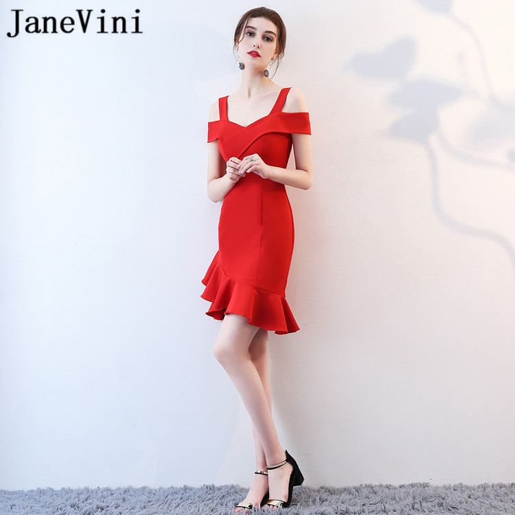 JaneVini Vestidos Charming Plus Size Mother Of Bride Dresses Satin Mermaid Ruffles V Neck Red Short Evening Gowns Abiti Da Sera