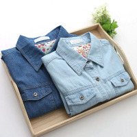 2016 New Spring Korean Fashion Clothing Long Sleeved Denim Shirt Woman Long Jeans Shirt Cotton Plus