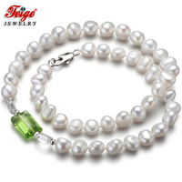 Feige Special offer Baroque 7-8MM White Freshwater Pearl Choker Necklace for Women's Green Crystal Collar Fine Pearl Jewelry