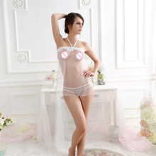 Sexy lingerie hot women black white red Exotic lingerie Baby Dolls sexy costumes underwear bow Transparent lace sexy apron suit
