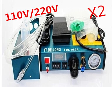 2PCS/Lot 220V Auto Glue Dispenser Solder Paste Liquid Controller Dropper YDL-983A Dispensing system shipping by DHL 11 11 free shippinng 6 x stainless steel 0 63mm od 22ga glue liquid dispenser needles tips