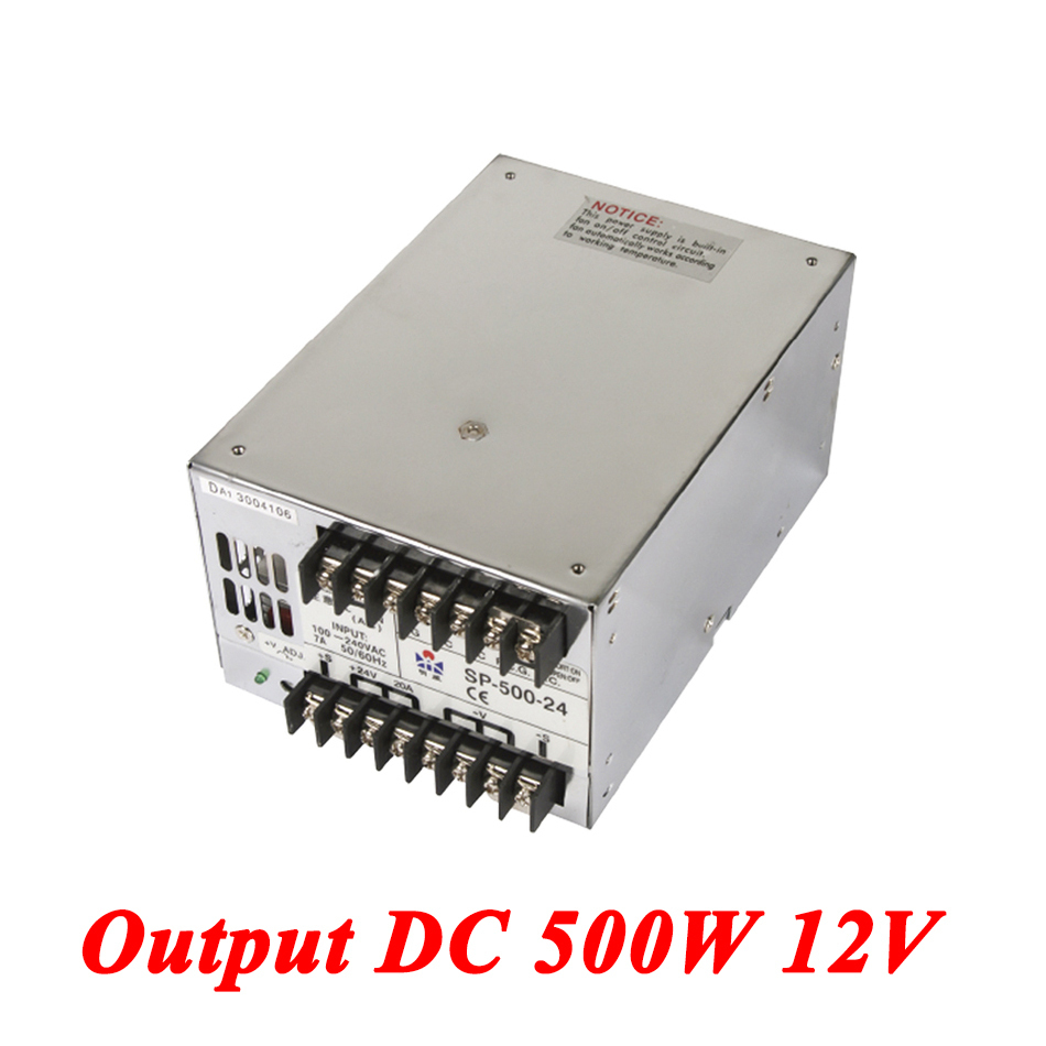 SP-500-12 PFC switching power supply 500W 12v 41.6A,Single Output ac-dc converter for Led Strip,AC110V/220V Transformer to DC dc power supply 36v 9 7a 350w led driver transformer 110v 240v ac to dc36v power adapter for strip lamp cnc cctv
