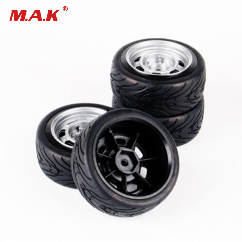 4 Pcs/Set Flat Rubber Tires&Wheel Rim 12mm Hex For HSP HPI 1/10 RC On Road Racing Car 11083 недорго, оригинальная цена