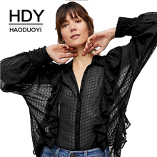 HDY Haoduoyi Women Blue Sheer Ruffle Blouse Fashion Blouse Long Sleeve Button Down Shirt Ladies Tops Checkered Shirts Blouses