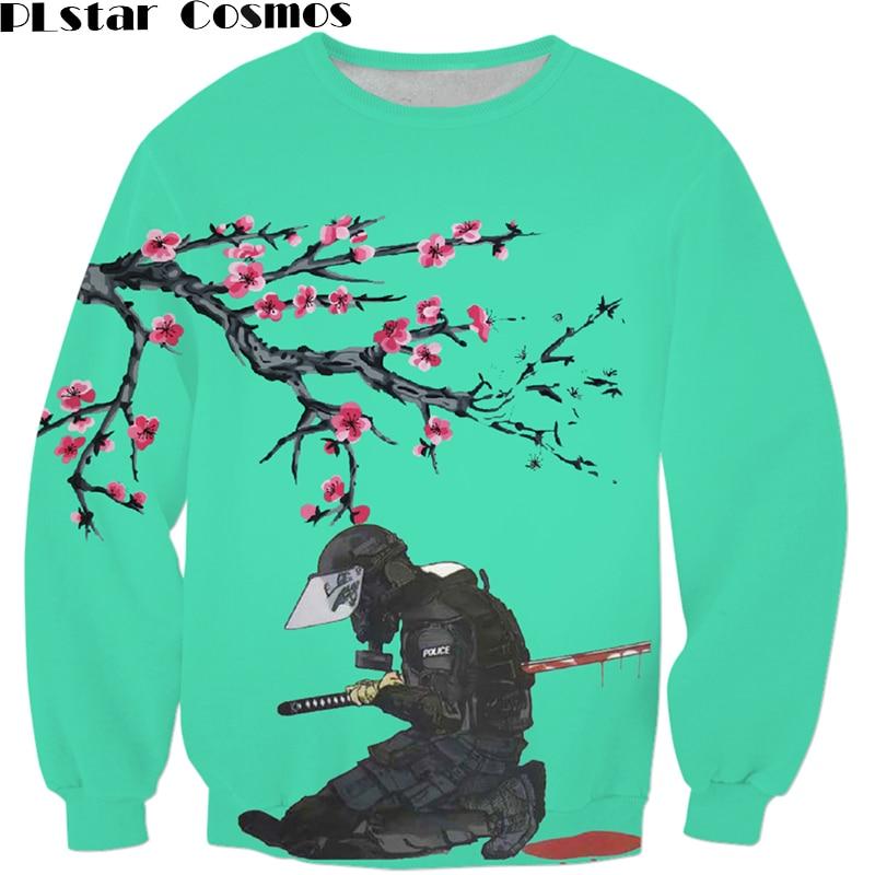 PLstar Cosmos Japanese anime Harajuku Sweatshirt fashion Men Women Outerwear Peach blossom suicide Death 3D Print Sweatshirts