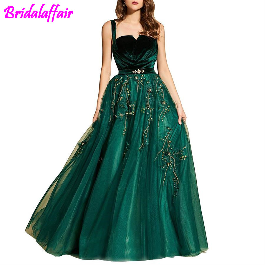 Hot Selling Party A-Line Straps Pleated Applique Evening   Dress   Tulle Long   Prom     Dresses   2018 Green Party   Dresses   Gown For Ladies