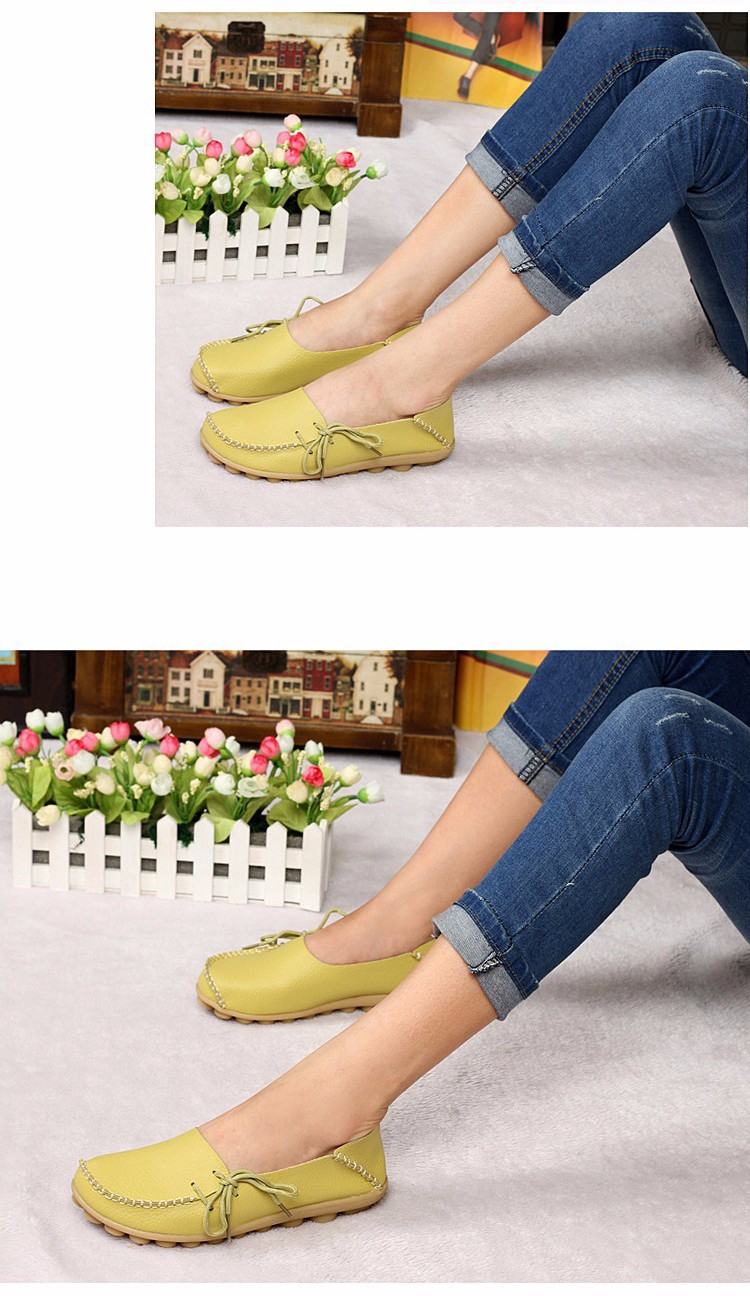 2016 New Real Leather Woman Flats Moccasins Mother Loafers Lacing Female Driving Casual Shoes In 16 Colors Size 34-44 ST179 (7)